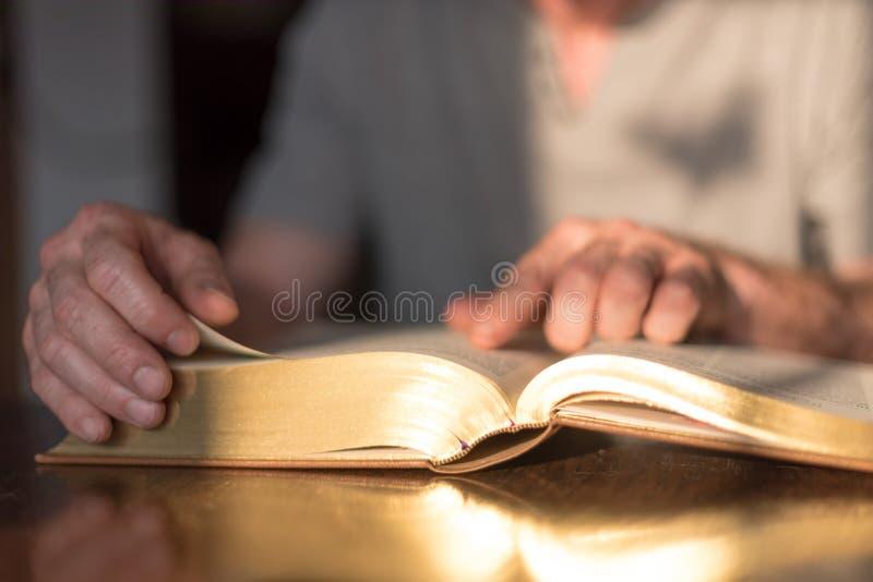 Mens die de Bijbel leest royalty-vrije stock foto