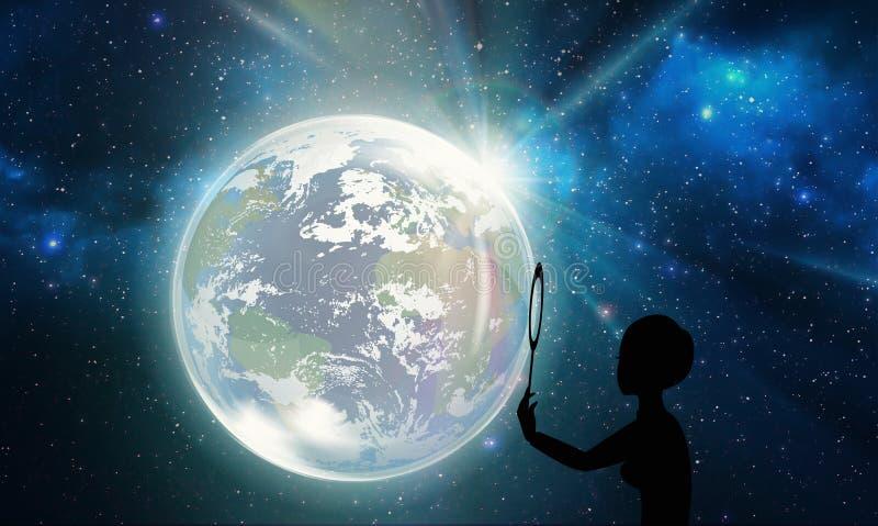 Mens die de nachthemel bekijken, ruimte, heelal, stargaze royalty-vrije illustratie