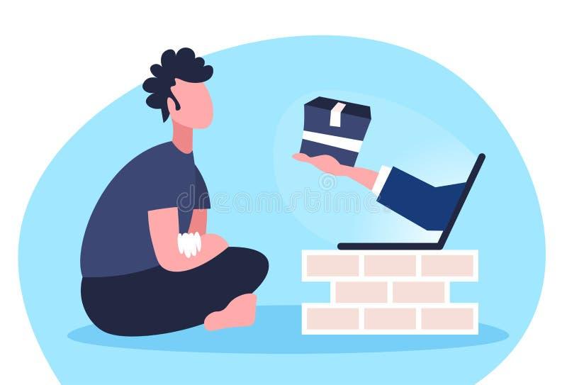 Mens die de online het winkelen menselijke hand van de computertoepassing van laptop het pakketdocument van de het schermholding  vector illustratie