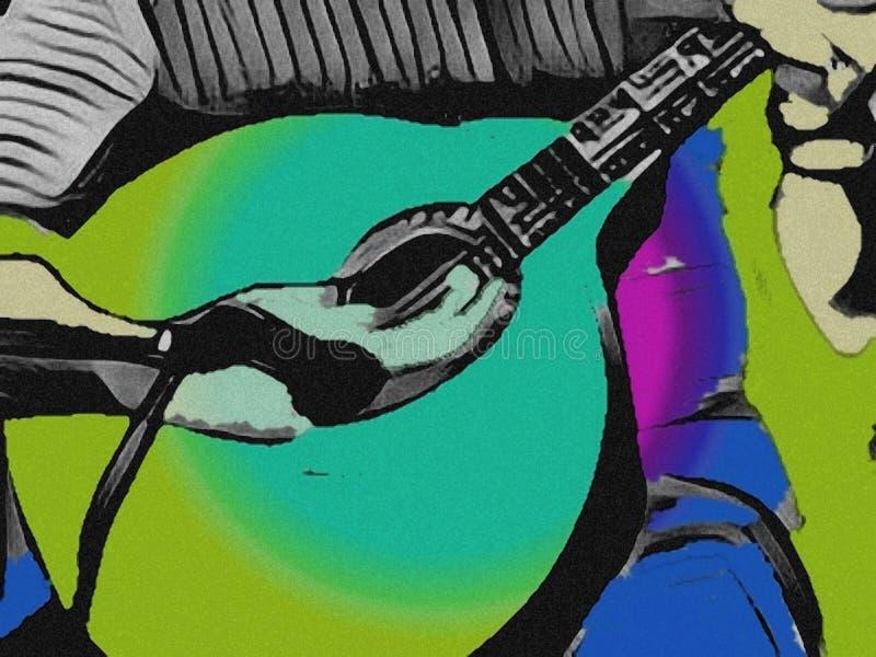 Mens die de Portugese gitaar speelt Groene kleurengevolgen stock illustratie