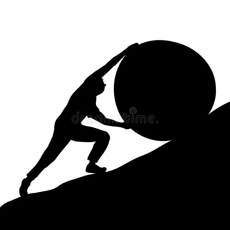Mens die de steen proberen op te heffen de heuvel stock illustratie