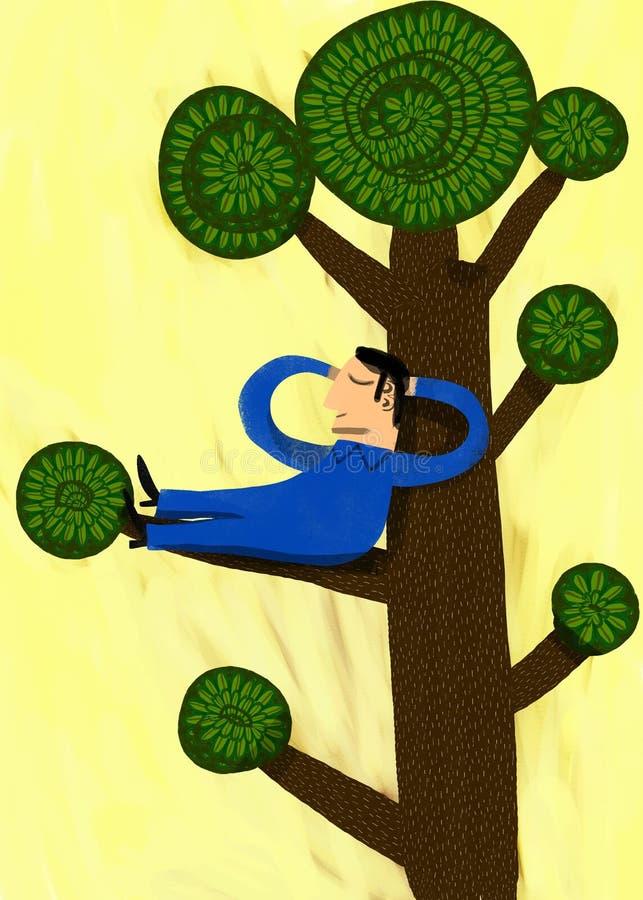 Mens die in de tak van een boom rust stock illustratie