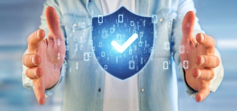 Mens die de veiligheidsconcept van het Schildweb het 3d teruggeven houden stock afbeelding