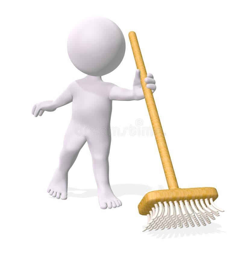 Mens die de vloer schoonmaakt vector illustratie