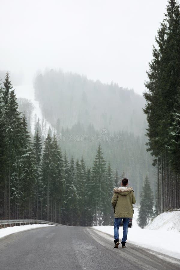 Mens die dichtbij sneeuwbos loopt stock afbeeldingen