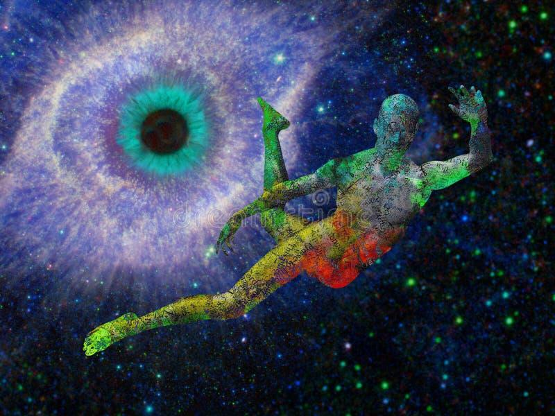 Mens die in diepe ruimte vliegen royalty-vrije stock afbeelding