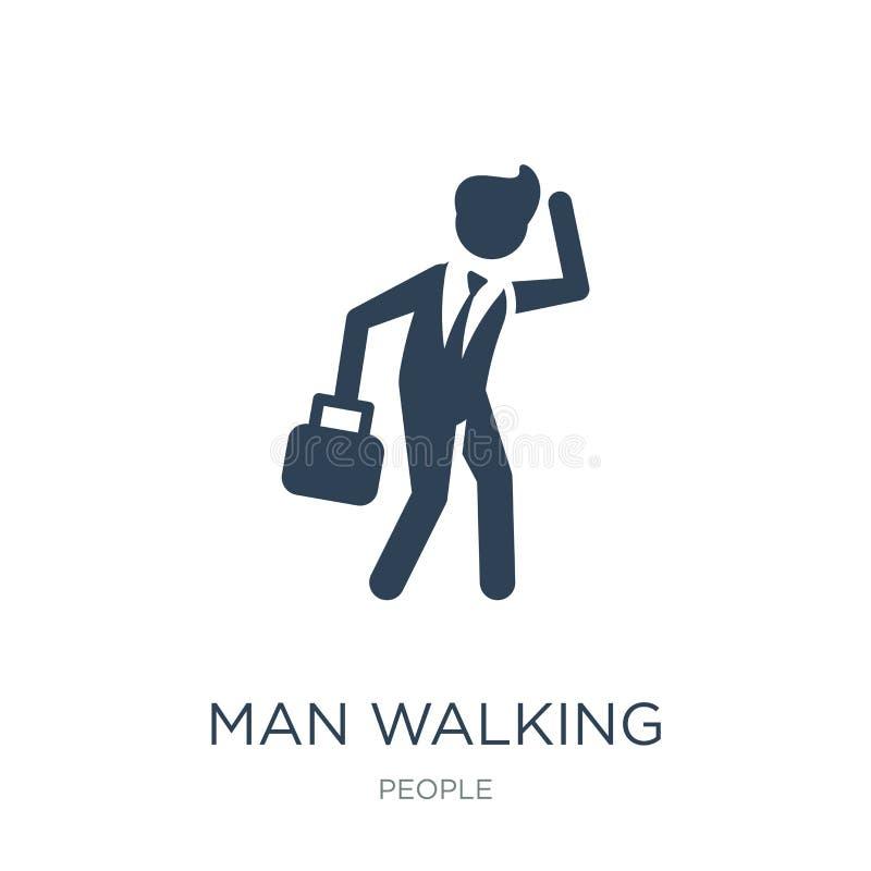 mens die door het windpictogram lopen in in ontwerpstijl mens die door het windpictogram lopen die op witte achtergrond wordt geï stock illustratie