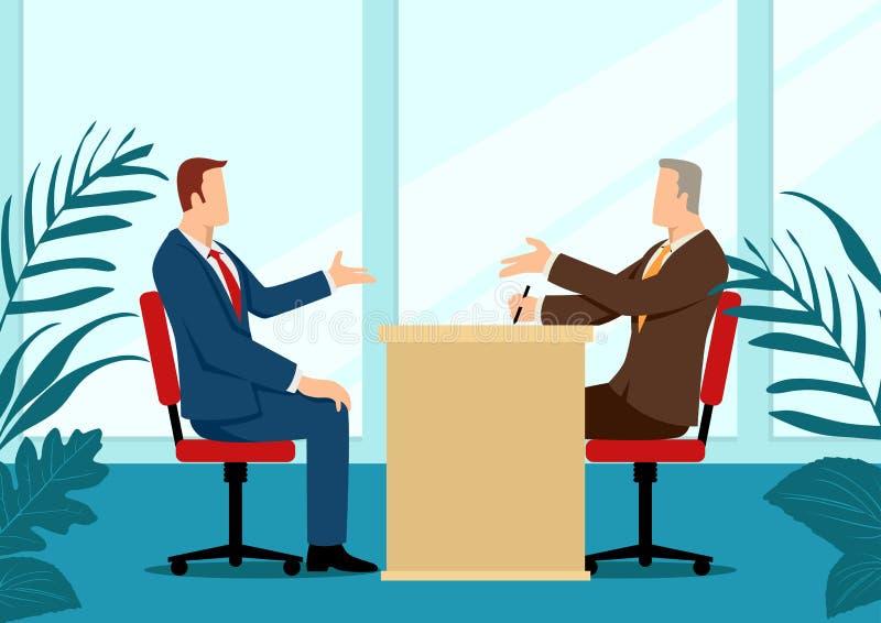 Mens die door recruiter worden ge?nterviewd vector illustratie