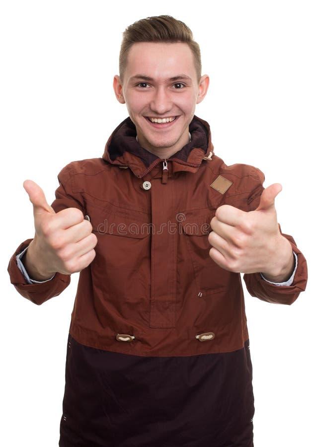 Mens die duim tonen stock afbeeldingen