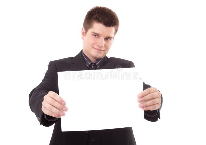 Mens die een aanplakbord houdt royalty-vrije stock foto's