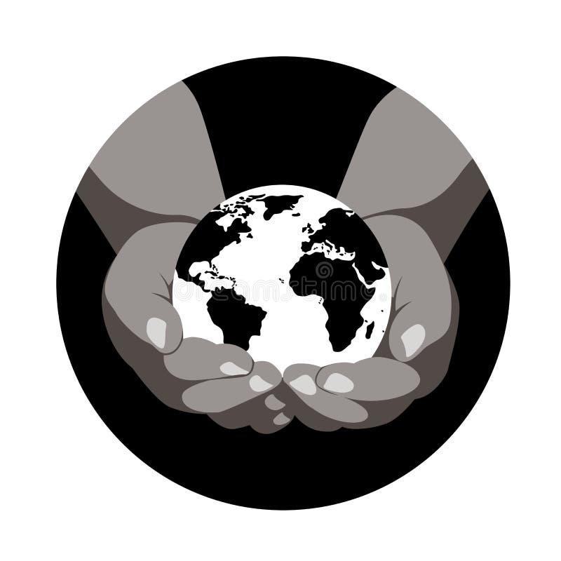 Mens die een aardebol in zijn handen houden, vector vlakke illustratie, stock afbeelding