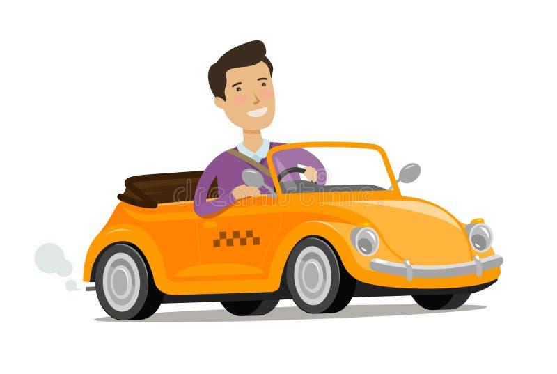 Mens die een auto drijft Het concept van de taxidienst De vectorillustratie van het beeldverhaal vector illustratie