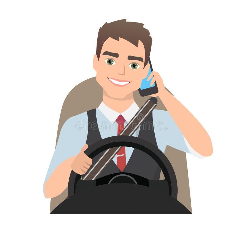 Mens die een auto drijven die op de telefoon spreken royalty-vrije illustratie