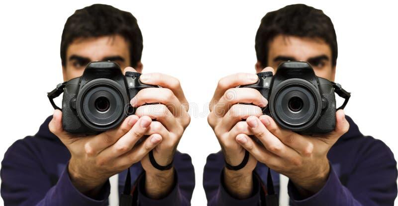Mens die een beeld met SLR-Camera, Witte Achtergrond nemen royalty-vrije stock afbeelding