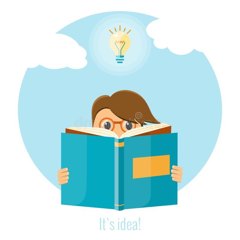 Mens die een boek voor het creëren van een goed idee lezen Bedrijfs ideeconcept royalty-vrije stock afbeelding