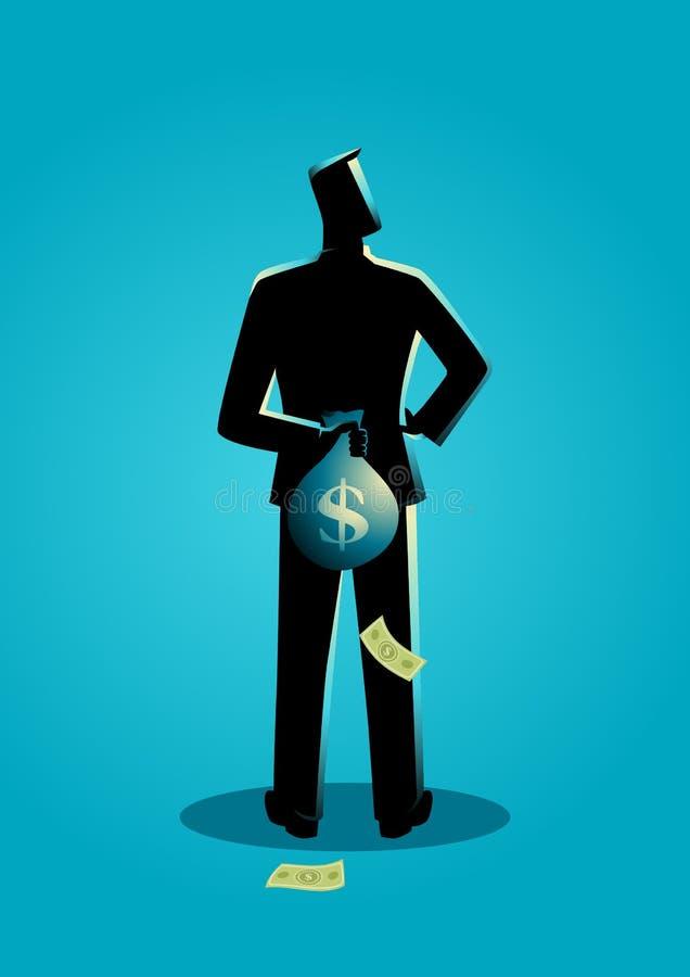 Mens die een geldzak achter zijn rug verbergen vector illustratie