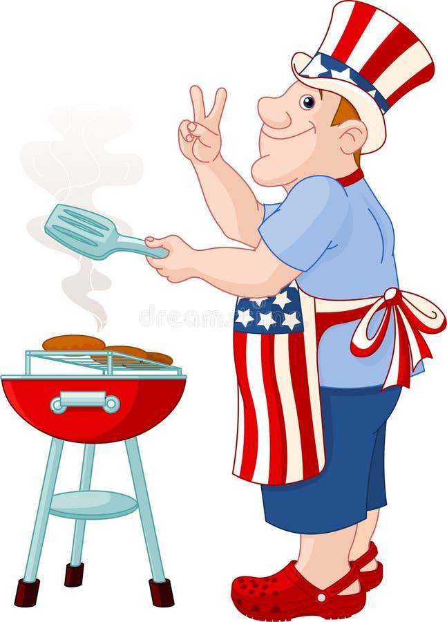 Mens die een Hamburger kookt stock illustratie