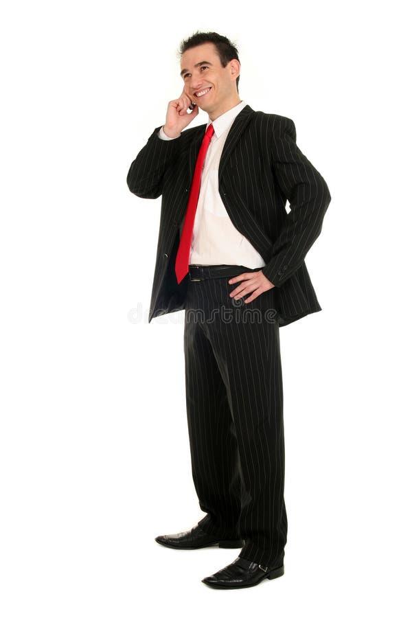 Mens die een mobiele telefoon met behulp van stock afbeelding