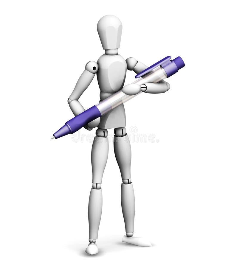 Mens die een pen houdt stock illustratie