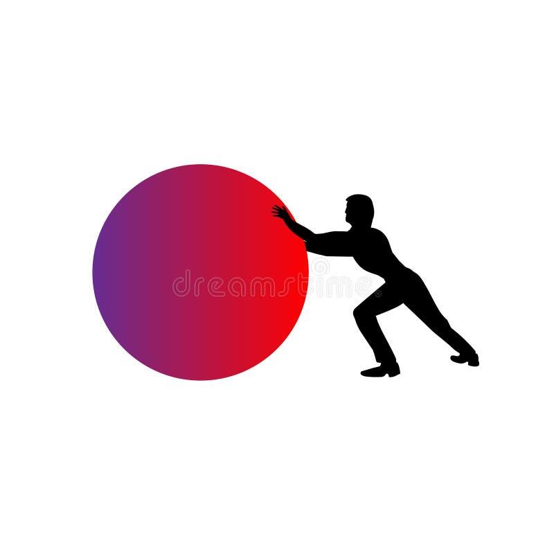 Mens die een rode die gebied, bal of orb duwen - over een witte achtergrond wordt een geïsoleerd Ongekunsteld voorwerp stock illustratie