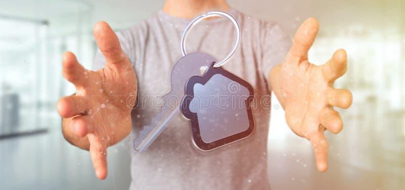 Mens die een Sleutel en huis het 3d teruggeven houden stock fotografie