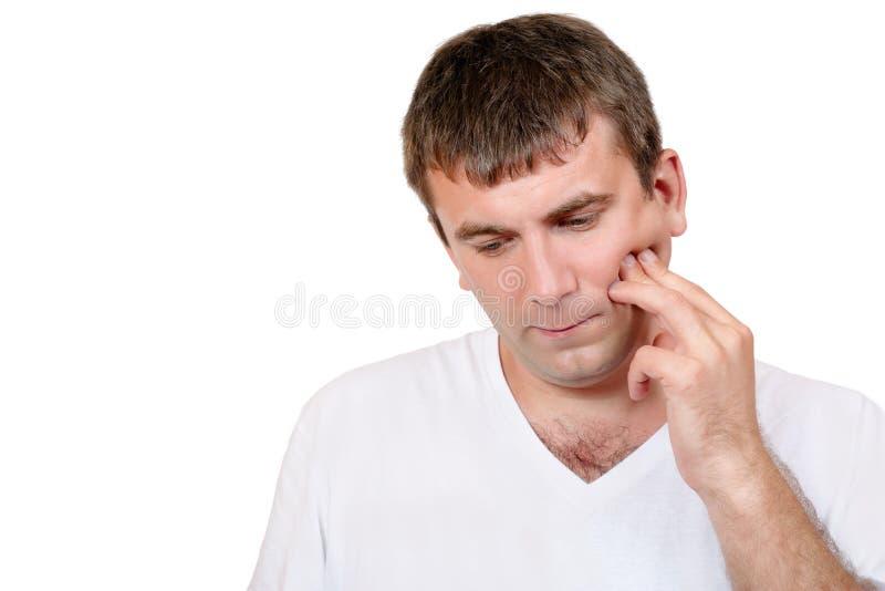 Mens die een tandpijn hebben royalty-vrije stock fotografie