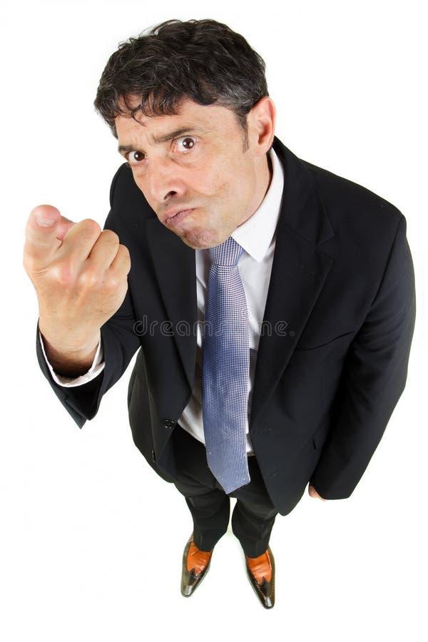 Mens die een vinger in beschuldiging richten royalty-vrije stock afbeelding