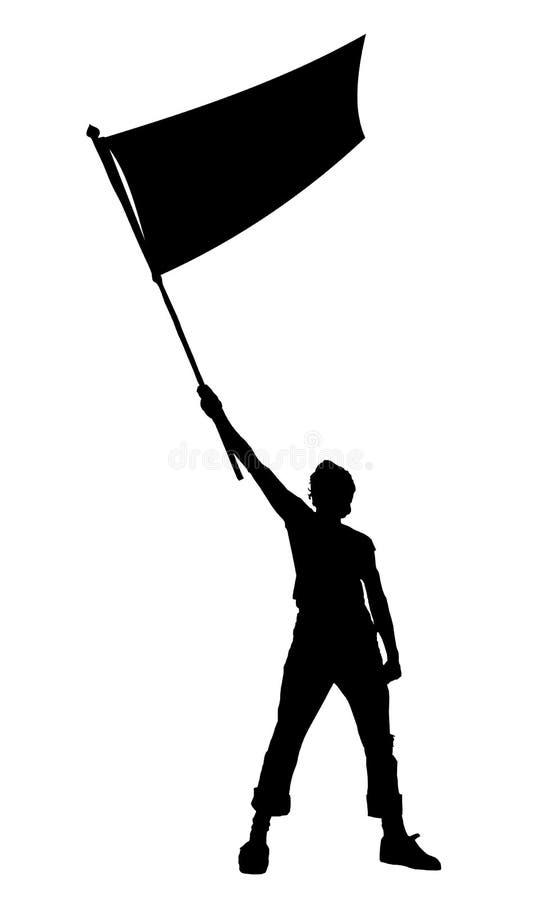 Mens die een vlag, vectorsilhouet houdt stock illustratie