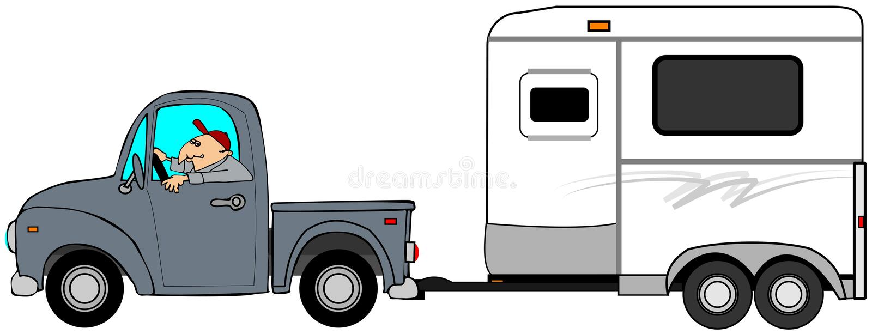 Mens die een vrachtwagen drijven en een paardaanhangwagen slepen stock illustratie