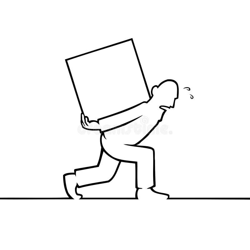 Mens die een zware doos op zijn rug dragen stock illustratie
