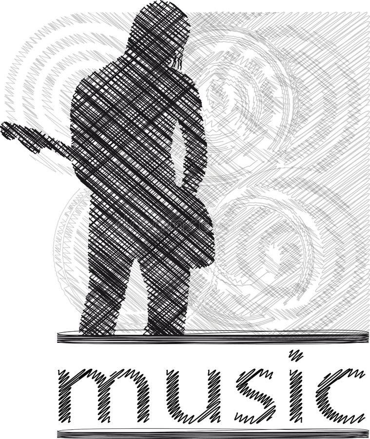 Mens die elektrische gitaar speelt royalty-vrije illustratie