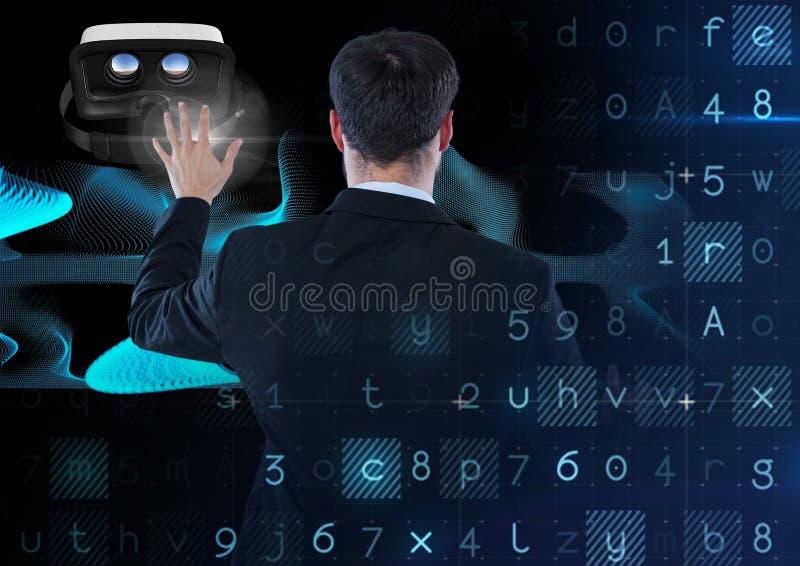 Mens die en met virtuele werkelijkheidshoofdtelefoon met overgangseffect raken interactie aangaan royalty-vrije stock afbeeldingen