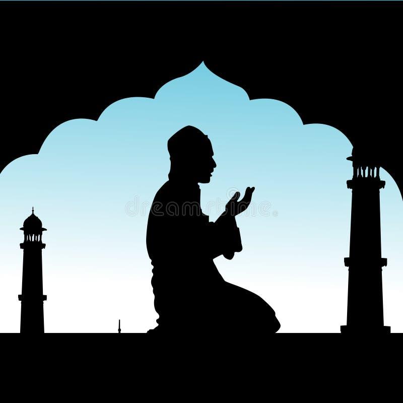 Mens die gebeden aanbiedt royalty-vrije illustratie