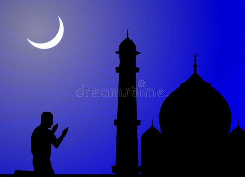 Mens die gebeden, moskee aanbiedt stock illustratie