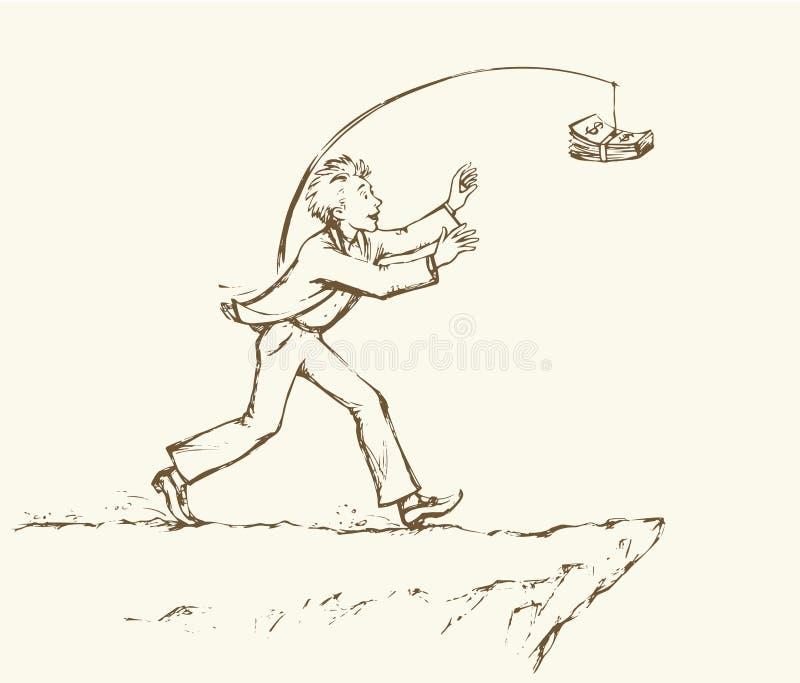 Mens die geld over een afgrond achtervolgen Vector tekening royalty-vrije illustratie