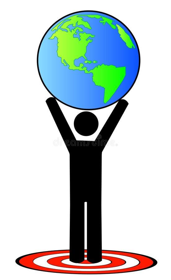 Mens die globaal doel bereikt royalty-vrije illustratie