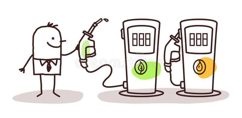Mens die groene brandstof kiezen vector illustratie