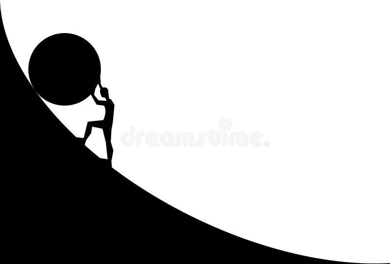 Mens die grote keihelling duwen Vectorbeeldverhaalsilhouet in vlak die ontwerp op witte achtergrond wordt geïsoleerd royalty-vrije illustratie