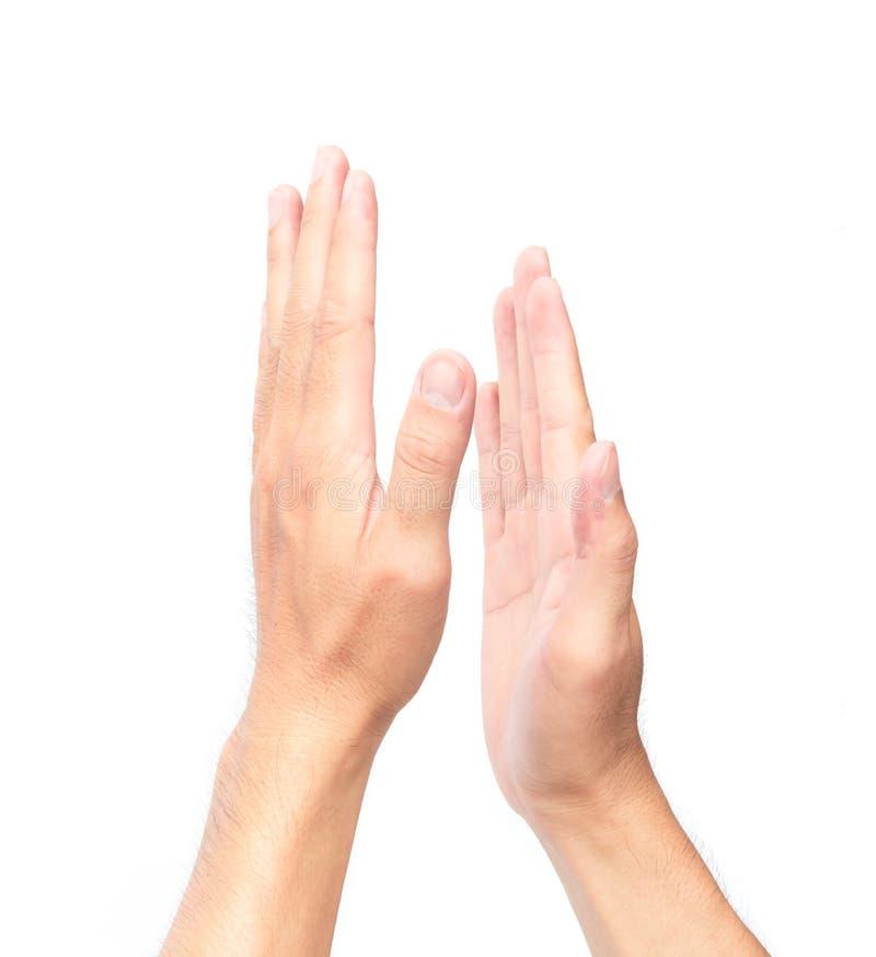 Mens die handen op witte achtergrond slaan stock afbeeldingen