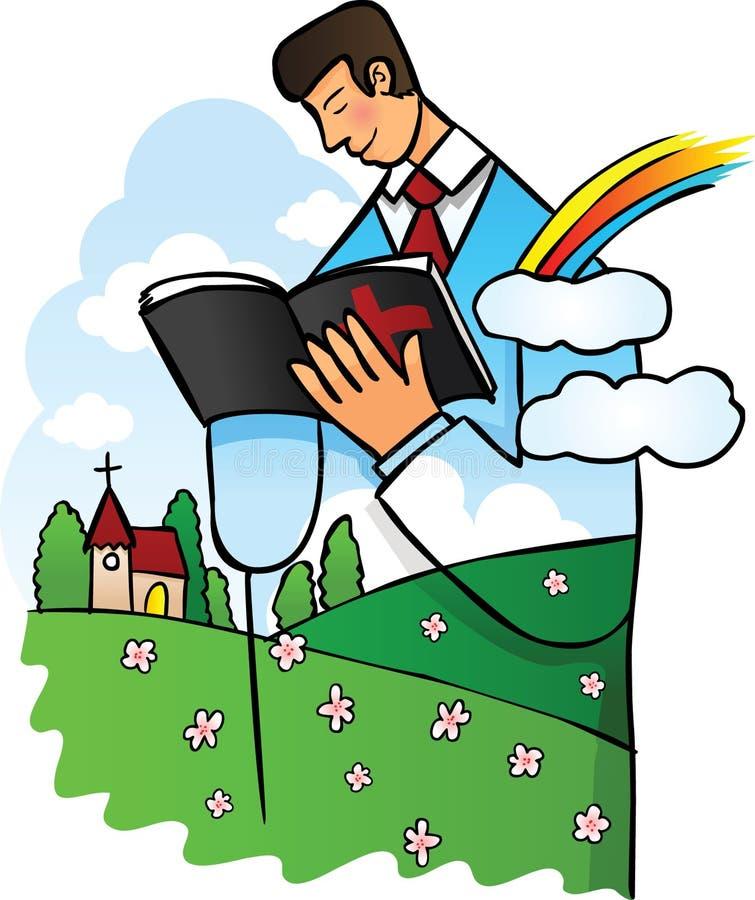 Mens die Heilige Bijbel leest   vector illustratie