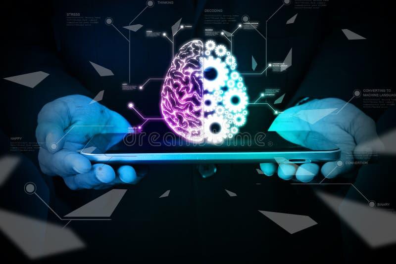 Mens die hersenen en toestelwielen op slimme telefoon tonen vector illustratie
