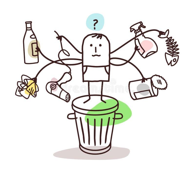 Mens die het afval sorteert vector illustratie