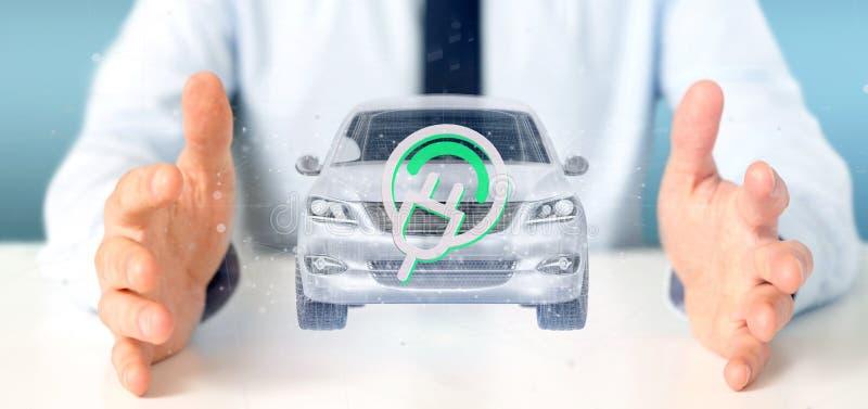 Mens die het Elektrische smartcar concept 3d teruggeven houden royalty-vrije stock fotografie