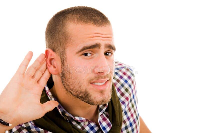 Mens die het gesprek luisteren stock fotografie