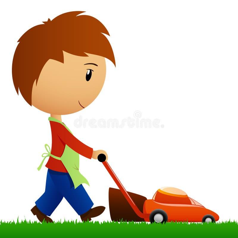 Mens die het gras met grasmaaimachine snijdt royalty-vrije illustratie