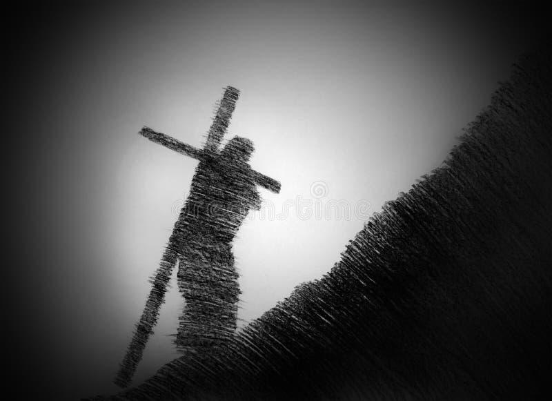 Mens die het kruis draagt royalty-vrije stock afbeelding