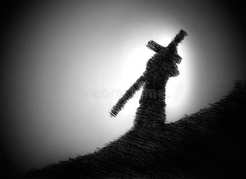 Mens die het kruis op zijn schouder draagt stock illustratie