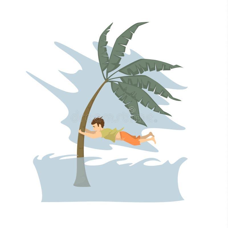 Mens die het leven tijdens het concept van tsunami grafische, natuurrampen proberen te redden vector illustratie