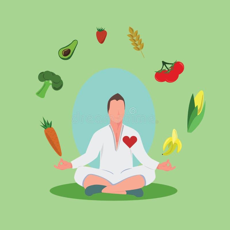 Mens die in het midden van fruit en plantaardige cirkel mediteren stock afbeeldingen