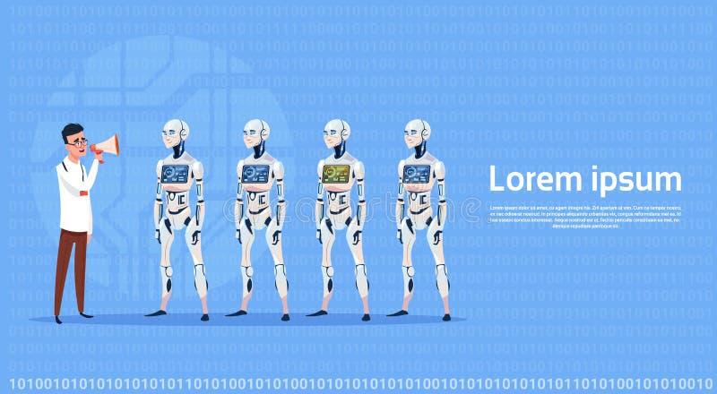 Mens die het Moderne Concept van de de Kunstmatige intelligentietechnologie van de Robotgroep Futuristische leiden royalty-vrije illustratie